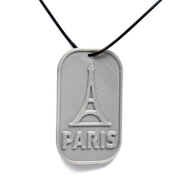 Paris Eiffel Tower France 3D Printed Neck Tag Grey PLA Plastic & Black Synthetic Cord