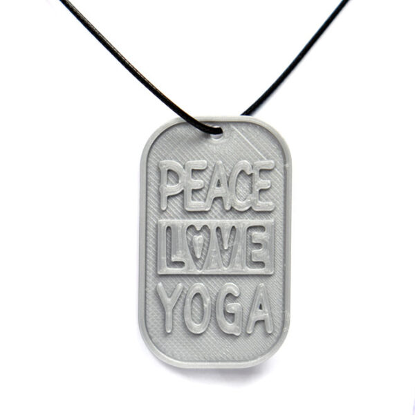 Peace Love Yoga 3D Printed Neck Tag Grey PLA Plastic & Black Synthetic Cord