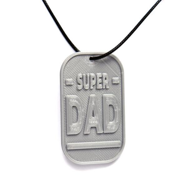 Super Dad 3D Printed Neck Tag Grey PLA Plastic & Black Synthetic Cord
