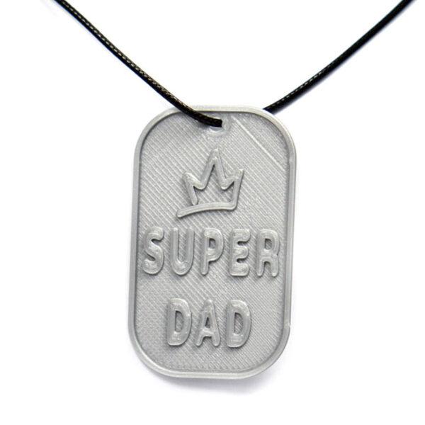 Super Dad Crown 3D Printed Neck Tag Grey PLA Plastic & Black Synthetic Cord