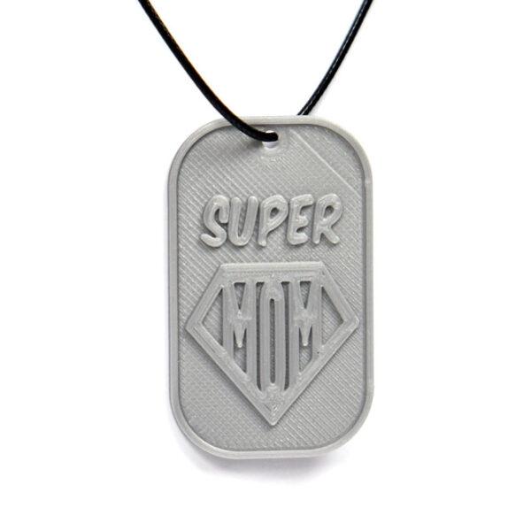Super Mom 3D Printed Neck Tag Grey PLA Plastic & Black Synthetic Cord