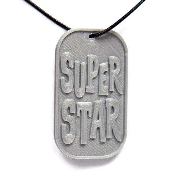 Super Star 3D Printed Neck Tag Grey PLA Plastic & Black Synthetic Cord