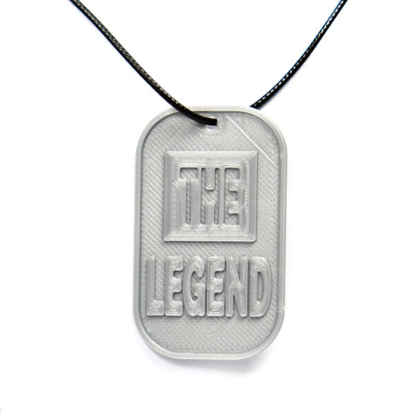 The Legend 3D Printed Neck Tag Grey PLA Plastic & Black Synthetic Cord