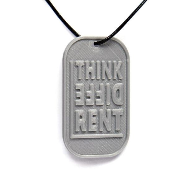 Think Different 3D Printed Neck Tag Grey PLA Plastic & Black Synthetic Cord