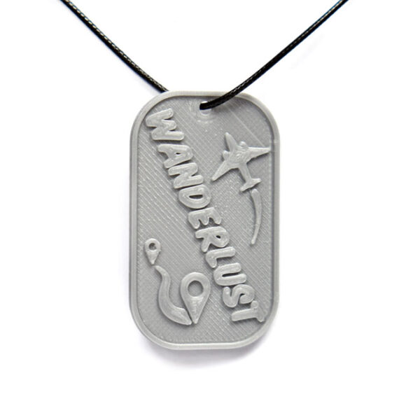 Wanderlust 3D Printed Neck Tag Grey PLA Plastic & Black Synthetic Cord
