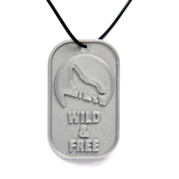 Wild And Free Wolf Howling Full Moon 3D Printed Neck Tag Grey PLA Plastic & Black Synthetic Cord